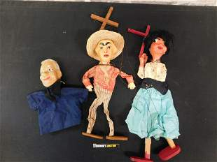 Lot of 2 Vintage Marionettes and a Hand Puppet