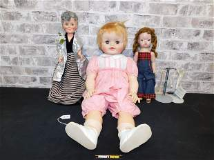 Lot of 3 Plastic Dolls including an Alexander Doll
