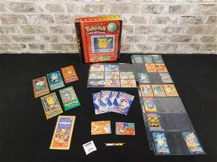 Lot of Mixed Pokémon Cards, Stickers, Binder, and