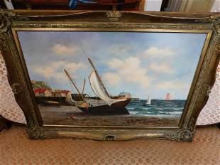 Oil on Canvas Ship Scene - B Cals