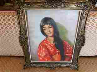 Oil on Canvas Portait of a Woman - Picetta