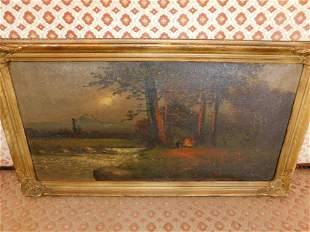 Oil on Canvas Lake Scene - Murray