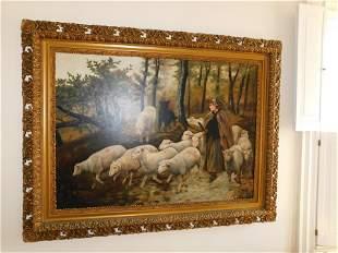 Oil on Board Sheep Scene - Reed