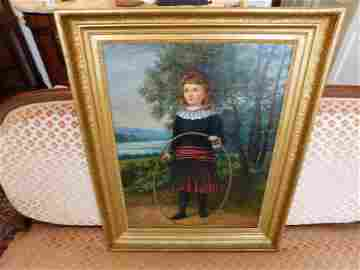 Oil on Canvas of Girl with Hoop - Gill