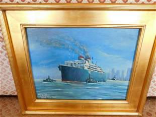Oil on Board Steamship NYC - Northcote