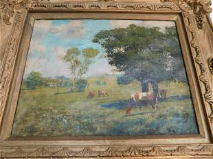 Oil on Canvas Cow Scene - Hagamay