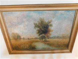 Oil on Canvas Field and Pond Scene - Bank