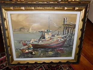 Oil on Board Fishing Boat - Leo