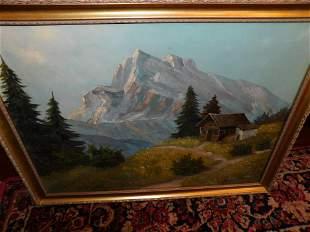 Oil on Canvas Cottage Scene - Mann