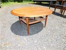 Danish Mid Century Modern Coffee Table with Rattan
