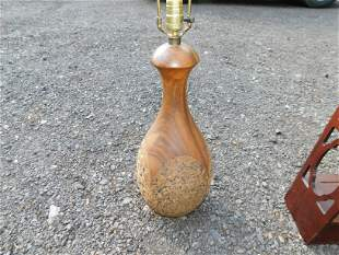 Mid Century Modern Teak and Cork Lamp