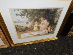 Framed Print of Children Eating at Lakeside