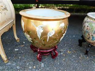 Paint Decorated Chinese Planter with Wooden Stand