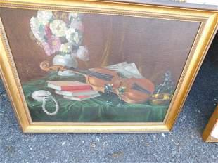 Oil on Board Stillife Painting of Violin