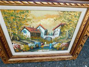 Oil on Canvas depicting European Cottage
