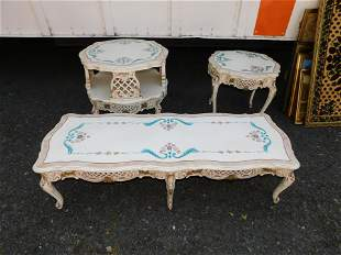 3 Piece Italian Provincial Hand Painted Coffee Table