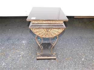 Foux Marble Top Egyptian Revival Style Pedestal Table