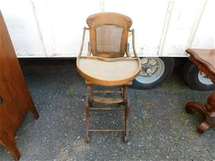 Victorian Oak Adjustable High Chair