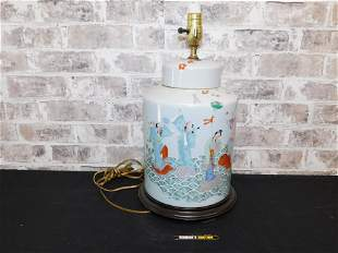 Chinese Cantonware Style Table Lamp
