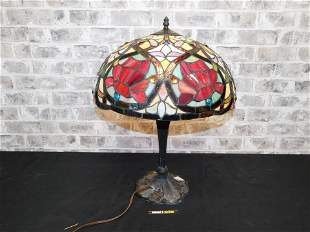 Tiffany Style Table Lamp with Decorative Metal Base