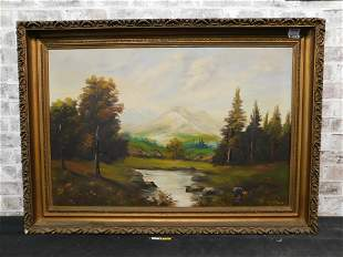 Framed Oil on Canvas of a Mountain and Creek Scene