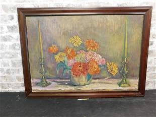 Oil on Canvas Stillife Scene of Flowers and
