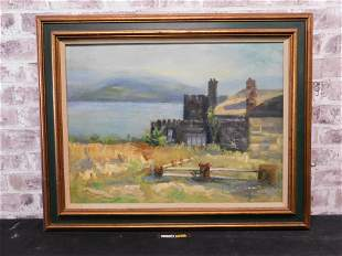 Oil on Canvas depicting a Cottage on the Water Scene