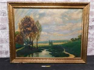 Oil on Canvas of Landscape Scene
