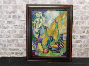 Oil on Canvas depicting Still Life of Fruit