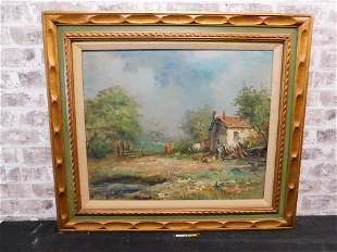 Framed Oil on Canvas of a Village Scene