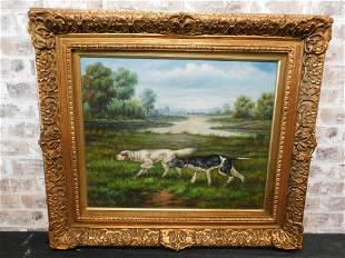 Framed Oil on Canvas - Dogs by the River