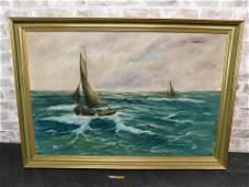 Framed Oil on Canvas - Sailboats on Rough Seas