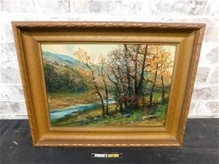 Framed Oil on Canvas of Creek Scene