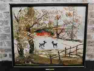 Framed Katz Oil on Board - Winter Reindeer Scene