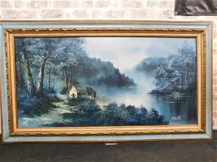 Framed Oil on Canvas of a Lake House Scene