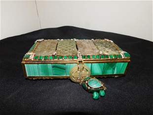Oriental Style Box with Carved Stone