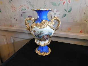 Old Paris Hand Painted Double Handled Vase
