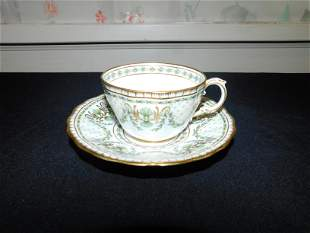 Early Tiffany & Co. Hand Painted Cup and Saucer