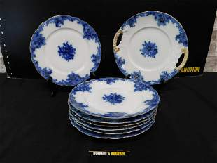 Grouping of 8 J.P. L France Flow Blue Plates