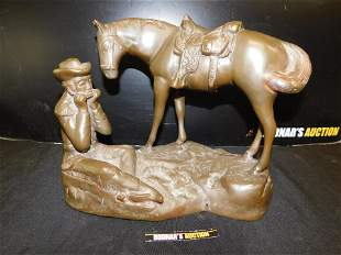 Contemporary Bronze Horse and Man Playing Harmonica