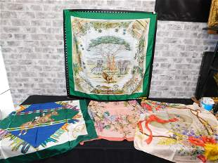 Lot of 4 Gucci Silk Scarves