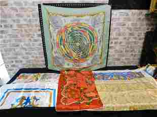 Lot of 6 Silk Scarves - Hermes, Smithsonian, and More