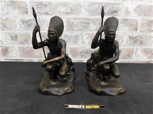 Pair of Cast Bronze Bookends of Indians