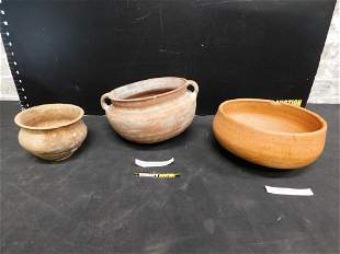 Group Lot of 3 Pieces of Early Pottery Bowls
