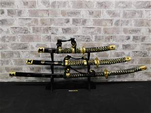 Grouping of 3 Samurai Swords on Stand