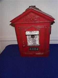 1950's Pull Handle, Exterior Pole Fire Alarm Box,