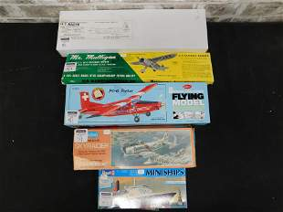 Lot of 5 Model Kits including Guillow's and Revell