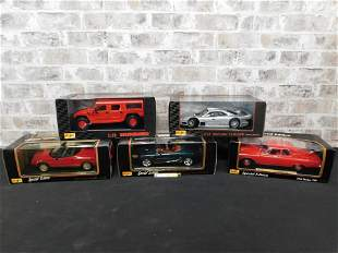 Lot of 5 Maisto 1:18 Scale Diecast Cars