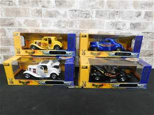 Lot of 4 Shyne Rodz Collection 1:18 Scale Die-Cast Cars