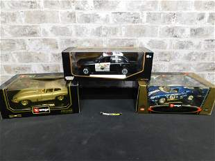 Lot of 3 1:18 Scale Die-Cast Cars - Burago and Motor